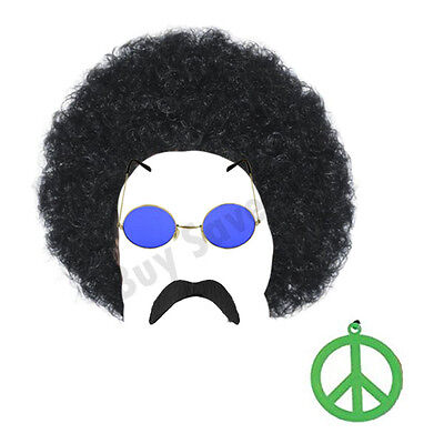 ADULT HIPPIE FANCY DRESS BLACK AFRO PEACE RAINBOW GLASSES AND PEACE MEDALLION