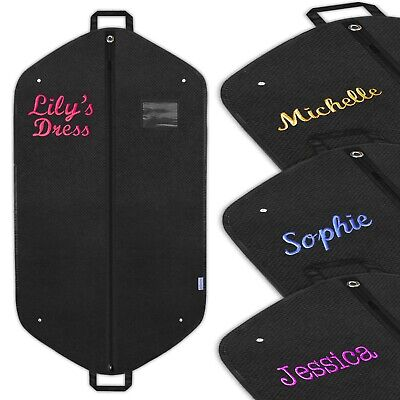 Personalised Embroidered Garment Suit Bag Dress Clothes Cover Travel Carrier