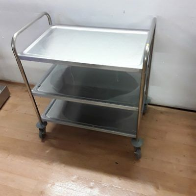 New B Grade Vogue Commercial Stainless Steel Triple 3 Tier Trolley Work Bench...