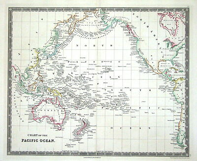 PACIFIC ISLANDS ,AUSTRALIA, NEW ZEALAND,USA Teesdales Original  Antique Map 1841