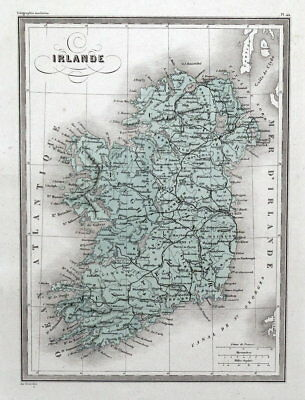 IRELAND NORTH & SOUTH Original  Antique Hand Coloured Vintage Map c 1840