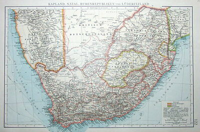 SOUTH AFRICA, CAPE COLONY, NATAL, ORANGE FREE STATE original antique map 1897