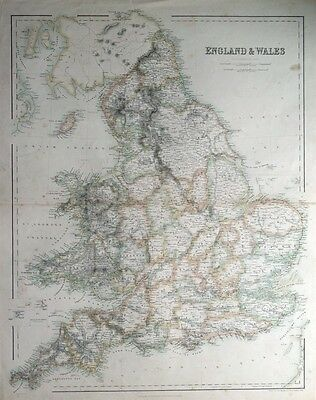 ENGLAND AND WALES,  A.Fullarton original antique map c1860