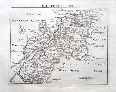 GLOUCESTERSHIRE, John Roque, England Displayed, Antique County Map 1769