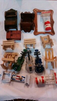 """15p LOT 1"""" Scale Dollhouse Miniatures Variety Wood Items Shelves, Child's Chairs"""