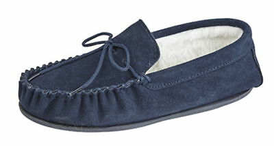 Mens Unisex Genuine Suede Moccasin Wool Lined Slippers Rubber Sole sizes 4 to 15