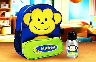 Personalised Kids Monkey Animal Backpack and drink bottle for daycare