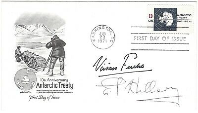 10th Anniversary Antarctic Treaty cover signed by Fuchs and Ed Hillary