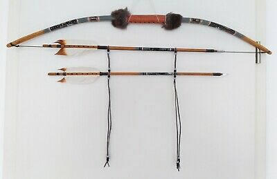 "Native American Bow & Arrow Set - Navajo Handmade - Wall Decoration - 36,5""/93cm"