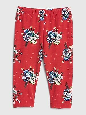 Nwt Baby Gap Girl's Red Floral Print Leggings 96% Cotton 4% Spandex (0-3 M)