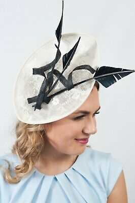Cream Embroidered Fascinator Ladies Hatinator Wedding Guest Race Day Hats RRP£65