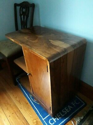 walnut art deco side table/bookcase/cabinet