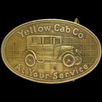 31f4df5f36d20 Vtg 70s Yellow Cab Checkered Co Rare Cabbie Taxi Car Driver Brass Belt  Buckle