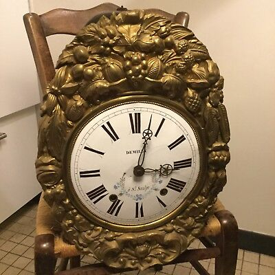 Antique french comtoise Morbier clock 19th century Wag On Wall Grandfather (h1)