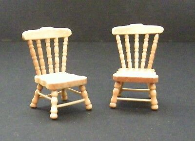 Dolls House Furniture Set 2 Miniature Oak Country Kitchen Chairs Victorian 24Th