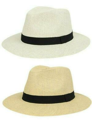 Panama Hat Straw Paper Fedora Mens Ladies New Cream Sun Beach Holiday Summer