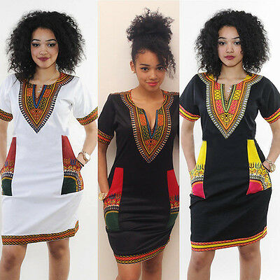 Mode féminine traditionnelle robe africaine Dashiki Imprimer Party Manches cour