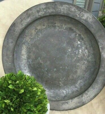 Antique French Pewter Charger Platter Shallow Bowl Huge