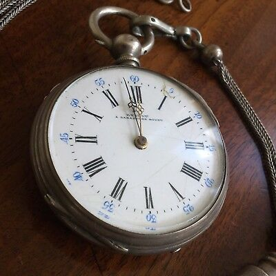 A Silver Pocket Watch And Chain, Enamel Dial And Farming Engraved Case, c.1905.