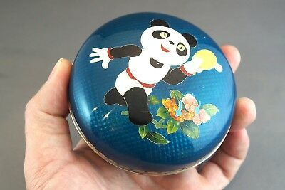 RARE CLOISONNE Silver Wire PANDA TABLE TENNIS OLYMPICS? BOX plate vase chinese
