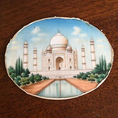 An Antique Grand Tour Miniature Painting Of The Taj Mahal, Agra, India, c.1870.