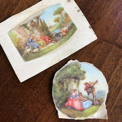 Two Antique 19th Century French Painted Miniatures, Romantic Courting Scenes.