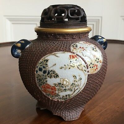An Unusual Antique Japanese Aesthetic Movement Satsuma Pottery Vase. 12cm High.