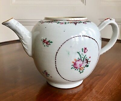 An 18th Century Chinese Export Porcelain Famille Rose Teapot. Qing. 13cm High.
