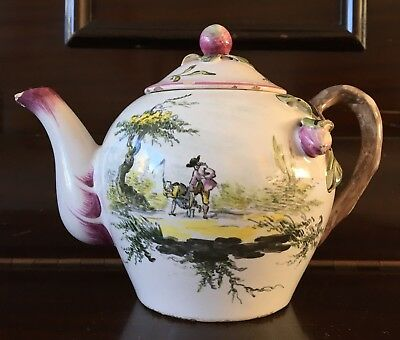 An 18th-19th Century French Veuve Perrin Faience Teapot, Figures In Landscape.