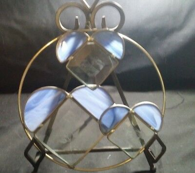 """VTG BEAUTIFUL ROUND Hand-made STAINED GLASS Etched Sun Catcher/Hanger 8""""  ~ EX"""