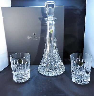 NEW Waterford Crystal Lismore Diamond Decanter & 2 Double Old Fashion Tumblers