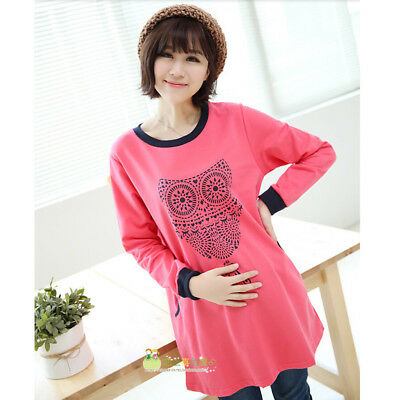 Autumn Winter Maternity Hoodies with Owl print, Clothes For Pregnant Women