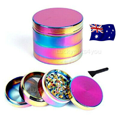 Metal Hand Herb GRINDER 4 Layers Rainbow Muller 40mm Lid Pot Roll