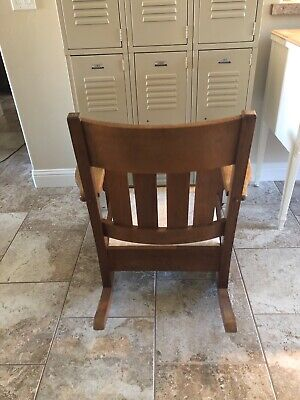 Antique 1920's Mission Arts & Crafts Solid Oak Rocking Chair Rocker Stickley Era