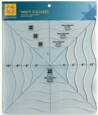 EZ SIMPLICITY WAVY SQUARES TEMPLATE - QUILTING PATCHWORK CRAFTIN-AcrylicTemplate