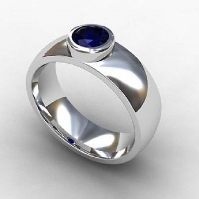 925 Sterling Silver Natural Blue Sapphire Gem Stones Men's Ring Jewelry Any Size