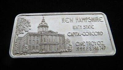 NEW HAMPSHIRE One Troy Ounce .999 Silver Bullion Bar, 9th State, Concord Capitol