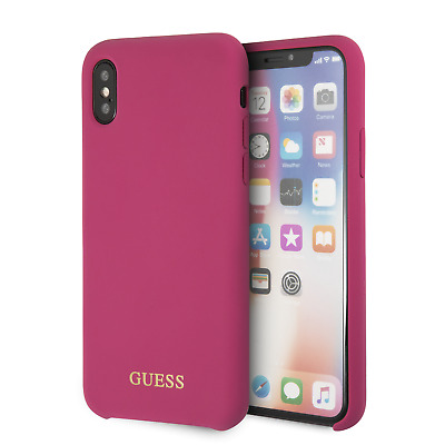 Guess Case Compatible with iPhone X and XS silicone gold logo Pink