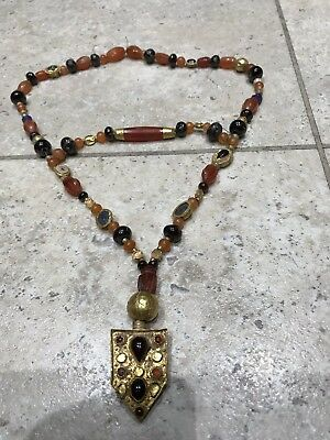 Genuine Ancient / Medieval Gold Mixed Bead Necklace/ Beduoin Or Turkish Ottoman