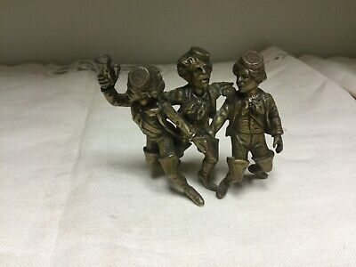 Vintage WWll Three Little Drunken British Soldiers Solid Brass Figurine""