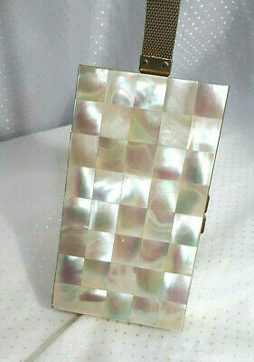 Mother of Pearl Compact Minaudiere Vanity Case Purse Vintage MOP Checkerboard
