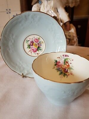Embossed Powder Blue Coalport Duo With Flowers & Gilding - Cup & Saucer