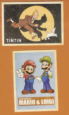 2 Retro style cartoon character postcards Super Mario Bros and Tintin D37