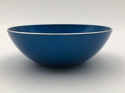 "Vintage 5"" Emalox Norway Enamel Bowl Blue Anodized Aluminum"
