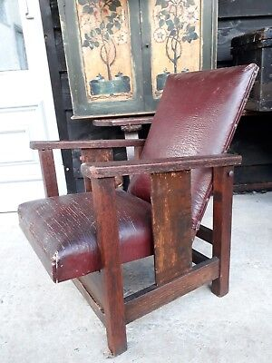 Arts And Crafts Oak Childs Chair Reclining Original
