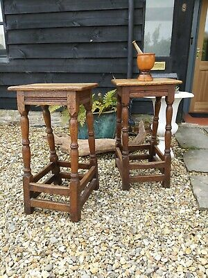 A Very Good Pair Of Tall Oak Joint Stools Kitchen Period Home