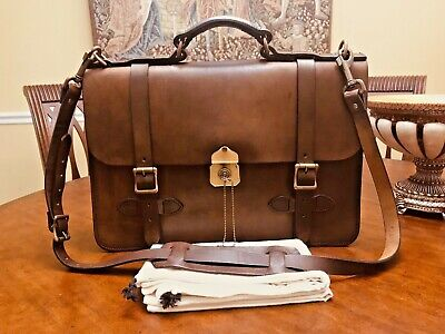 cdf1705e97057 FILSON Brown Leather Field Satchel   Briefcase   Messenger Bag- Made In  America