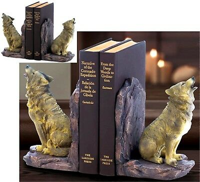 Detailed Grey & Gold-Browns Howling Wolf Sculpture Bookends ** Nib