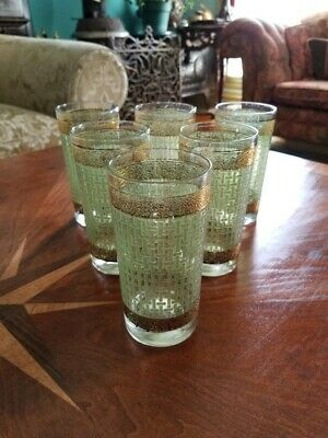 Set Of 6 Vintage Culver Green And Gold Basket Weave Glass Tumblers