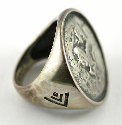 Silpada Distressed Oxidized Sterling Silver Coin ring size 10 R1901 Rare!